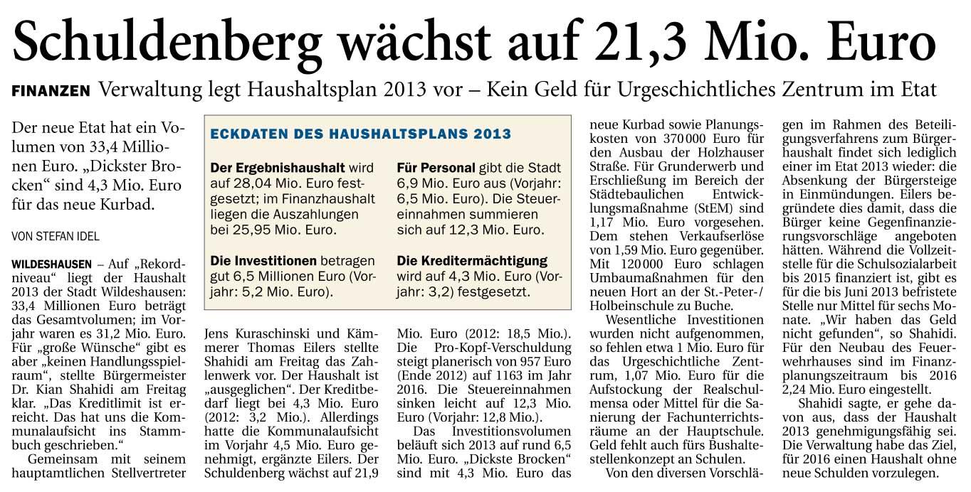 Schuldenberg wächst auf 21,3 Mio. EuroFinanzen: Verwaltung legt Haushaltplan 2013 vor - Kein Geld für Urgeschichtliches Zentrum im EtatArtikel vom 29.09.2012 (NWZ)