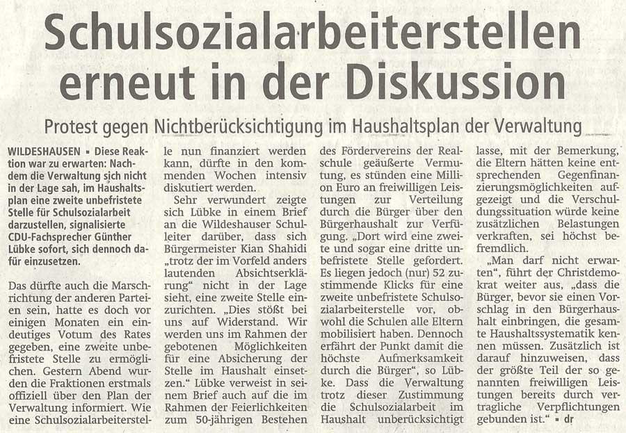Schulsozialarbeiterstellen erneut in der DiskussionProtest gegen Nichtberücksichtigung im Haushaltsplan der VerwaltungArtikel vom 02.10.2012 (WZ)