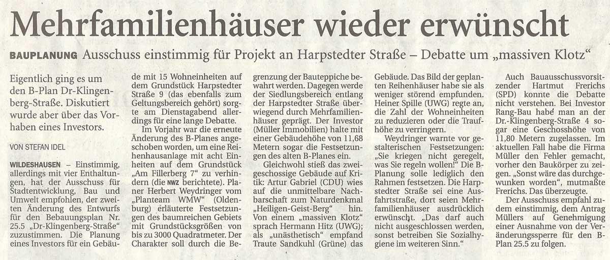 Mehrfamilienhäuser wieder erwünschtBauplanung: Ausschuss einstimmig für Projekt an Harpstedter Straße - Debatte um 'massiven Klotz'Artikel vom 04.10.2012 (NWZ)