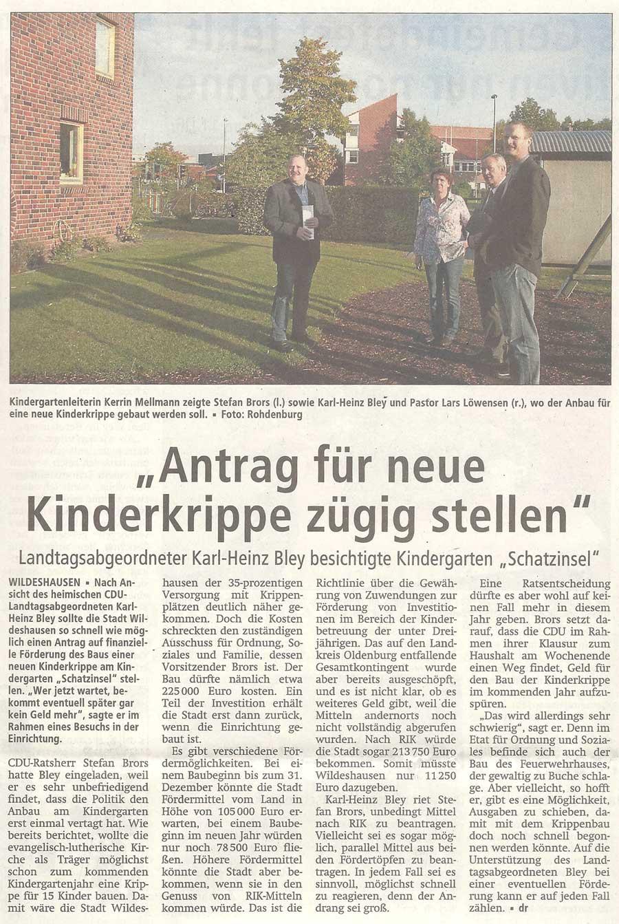 'Antrag für neue Kinderkrippe zügig stellen'Landtagsabgeordneter Karl-Heinz Bley besichtigte Kindergarten 'Schatzinsel'Artikel vom 05.10.2012 (WZ)