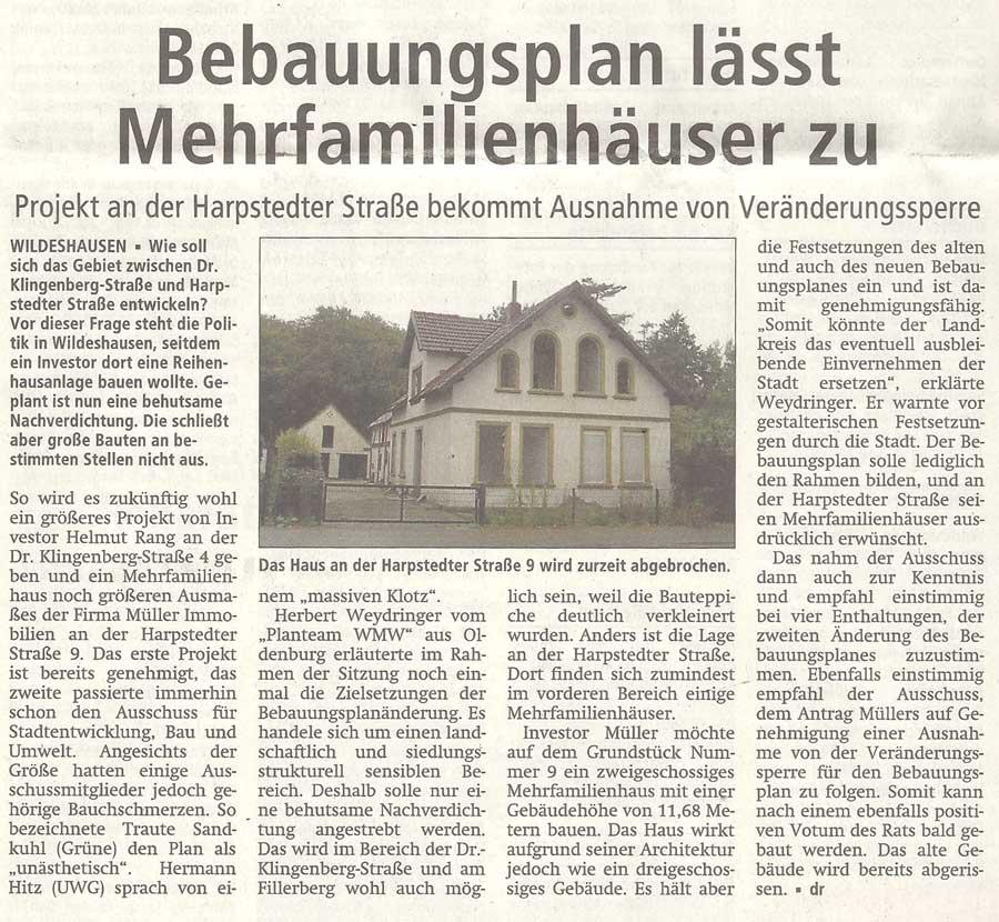 Bebauungsplan lässt Mehrfamilienhäuser zuProjekt an der Harpstedter Straße bekommt Ausnahme von VeränderungssperreArtikel vom 05.10.2012 (WZ)