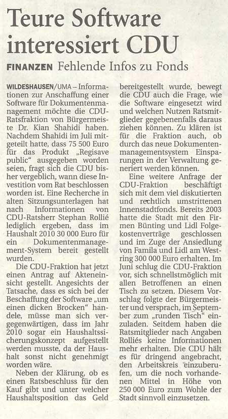 Teure Software interessiert CDUFinanzen: Fehlende Infos zu FondsArtikel vom 06.10.2012 (NWZ)