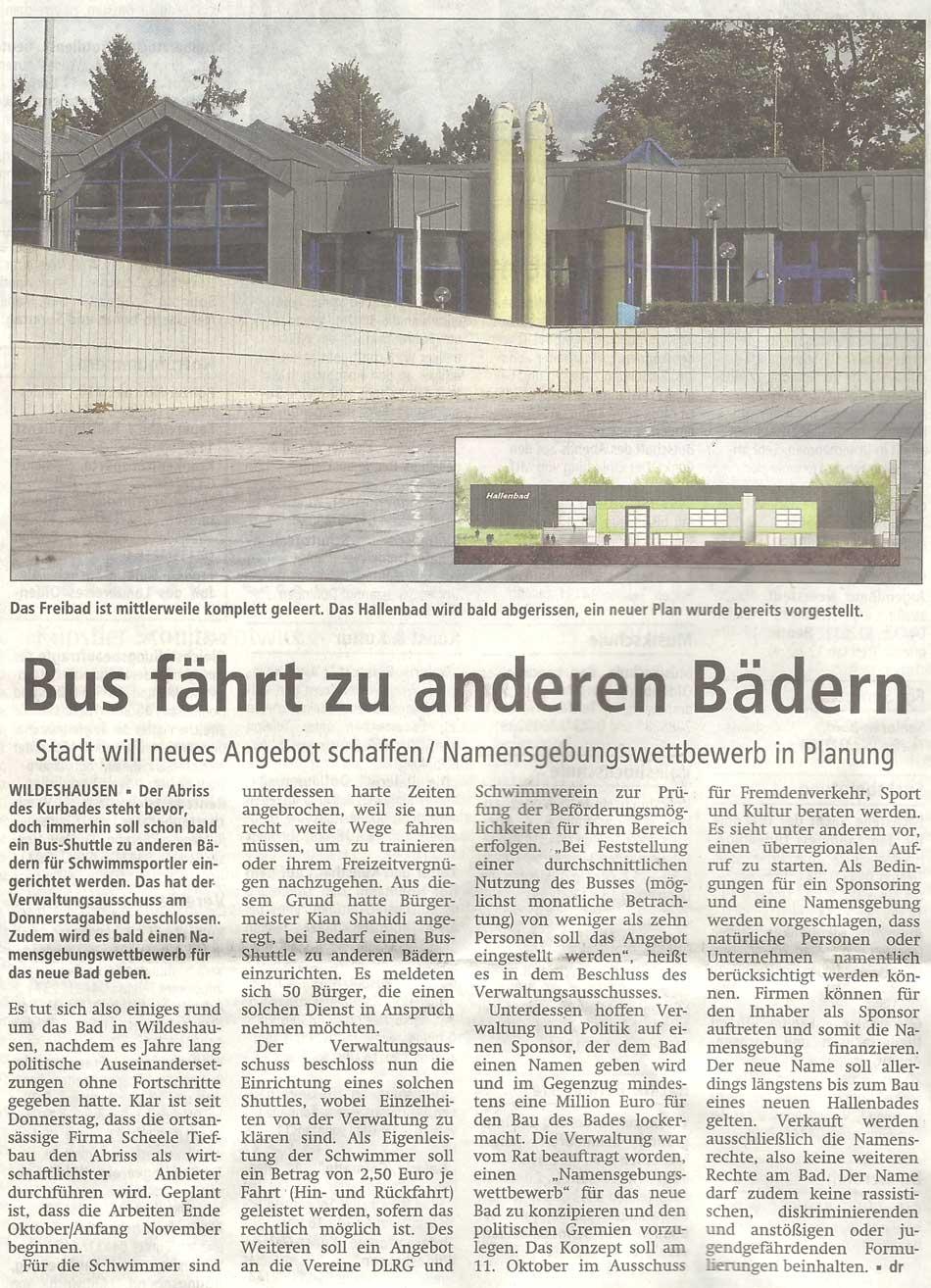 Bus fährt zu anderen BädernStadt will neues Angebot schaffen / Namensgebungswettbewerb in PlanungArtikel vom 06.10.2012 (WZ)