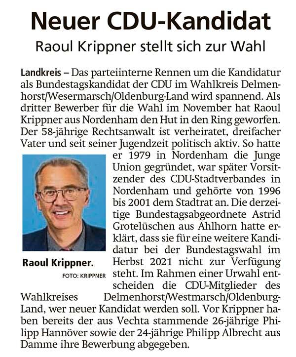 Neuer CDU-KandidatBundestag // Raoul Krippner stellt sich zur WahlArtikel vom 24.07.2020 (WZ)