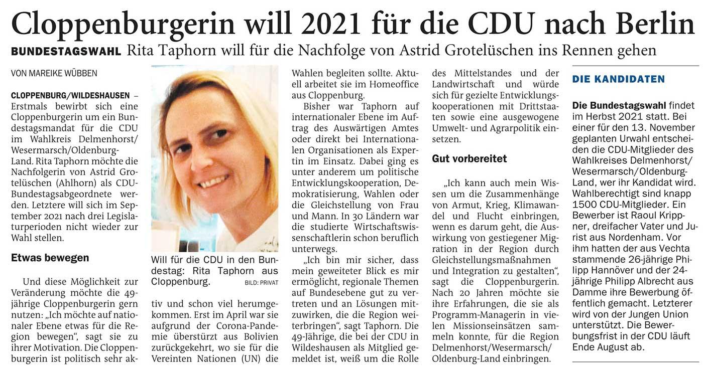 Cloppenburgerin will 2021 für die CDU nach BerlinBundestagswahl: Rita Taphorn will für die Nachfolge von Astrid Grotelüschen ins Rennen gehenArtikel vom 27.08.2020 (NWZ)