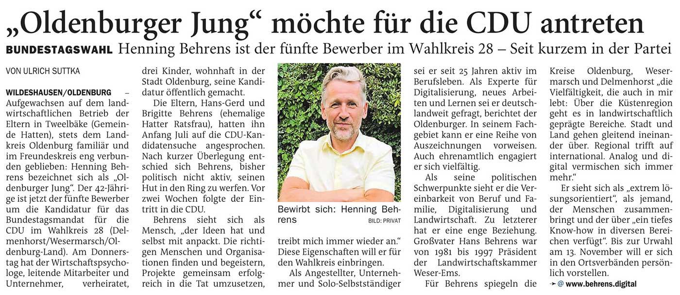'Oldenburger Jung' möchte für die CDU antretenBundestagswahl // Henning Behrens ist der fünfte Bewerber im Wahlkreis 28 - Seit kurzem in der ParteiArtikel vom 28.08.2020 (NWZ)