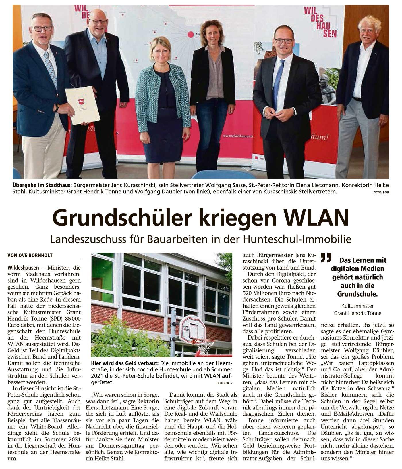 Grundschüler kriegen WLAN Landeszuschuss für Bauarbeiten in der Hunteschul-Immobilie Artikel vom 04.09.2020 (WZ)