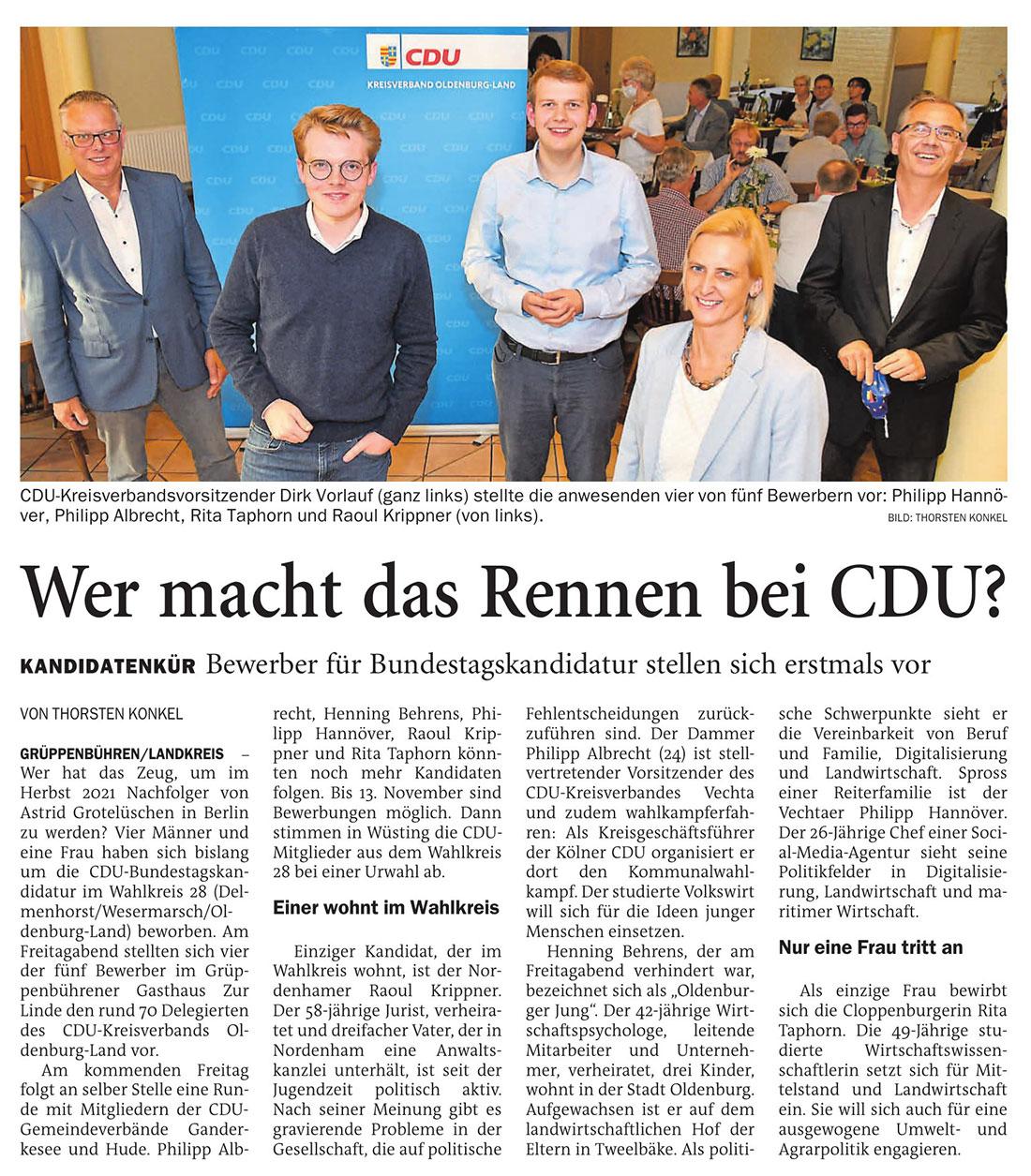Wer macht das Rennen bei der CDU?Grüppenbühren/Landkreis // Kandidatenkür: Bewerber für Bundestagskandidatur stellen sich erstmals vorArtikel vom 05.09.2020 (NWZ)