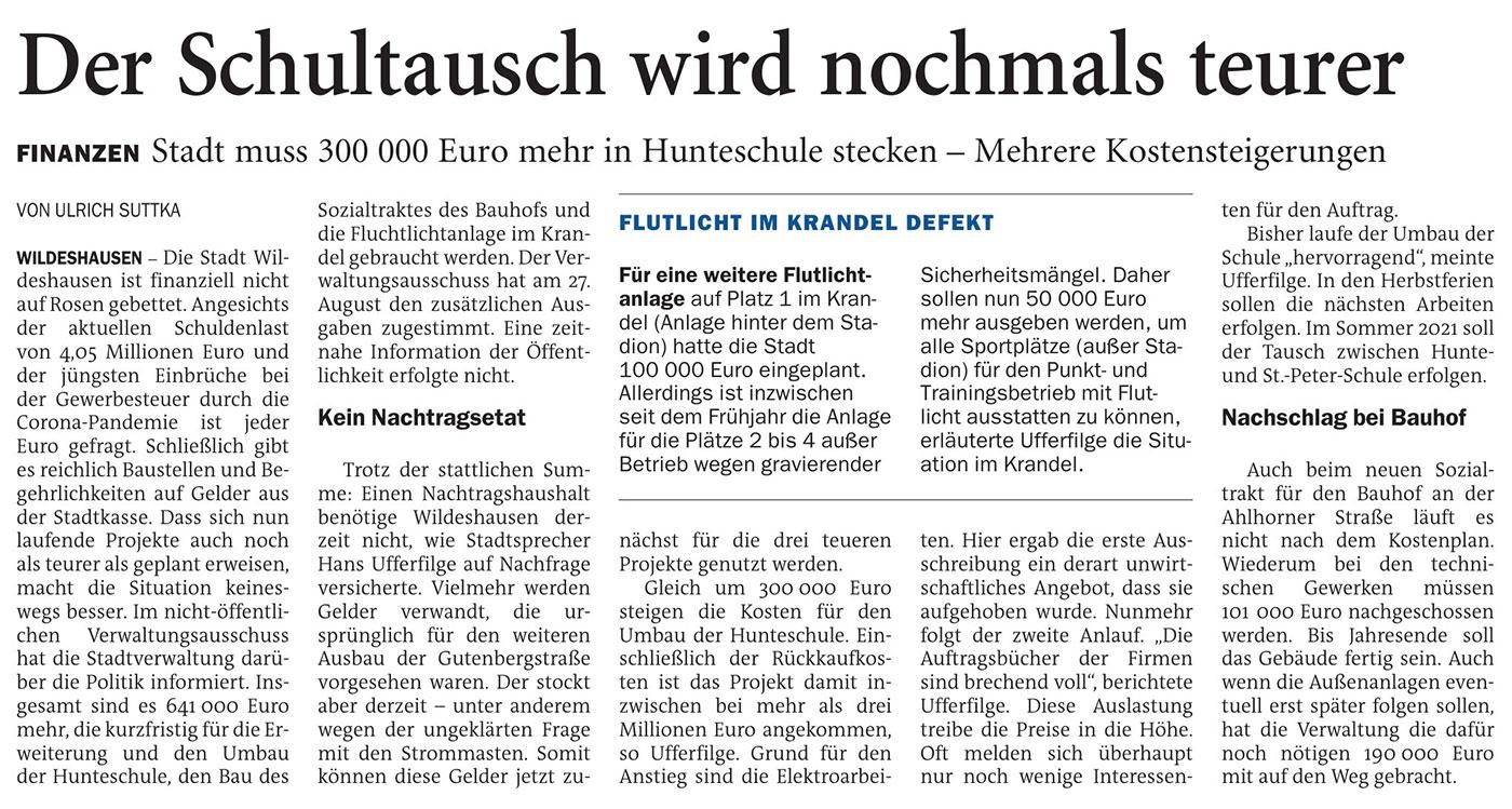 Der Schultausch wird nochmals teurerFinanzen: Stadt muss 300 000 Euro mehr in Hunteschule stecken - Mehrere KostensteigerungenArtikel vom 09.09.2020 (NWZ)