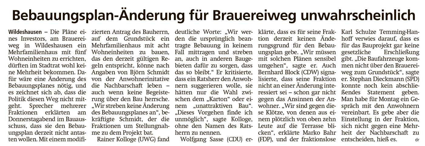 Bebauungsplan-Änderung für Brauereiweg unwahrscheinlichDie Pläne eines Investors, am Brauereiweg...Artikel vom 12.09.2020 (WZ)
