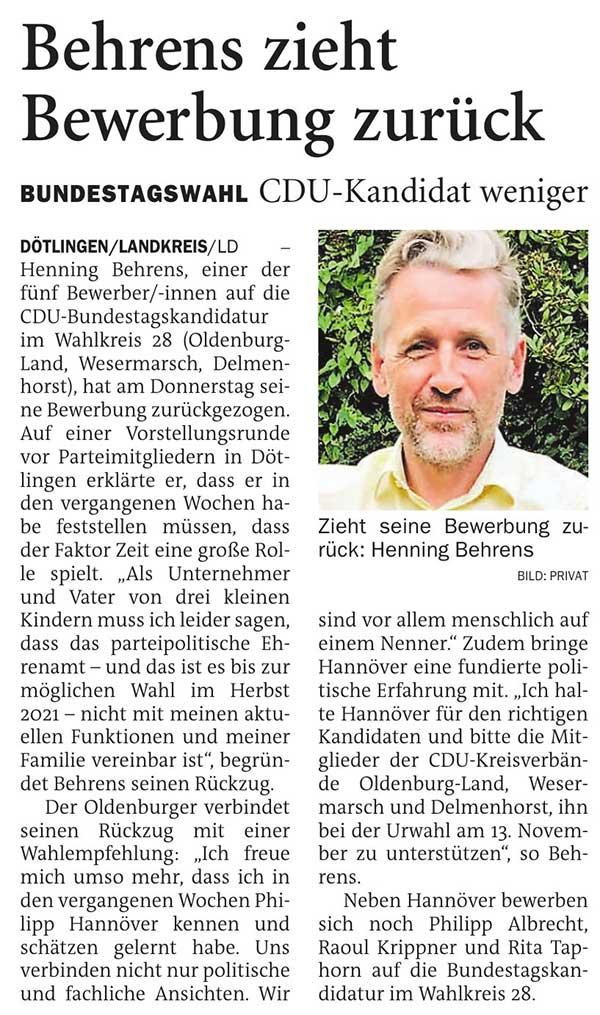 Behrens zieht Bewerbung zurückBundestagswahl // CDU-Kandidat wenigerArtikel vom 19.09.2020 (NWZ)