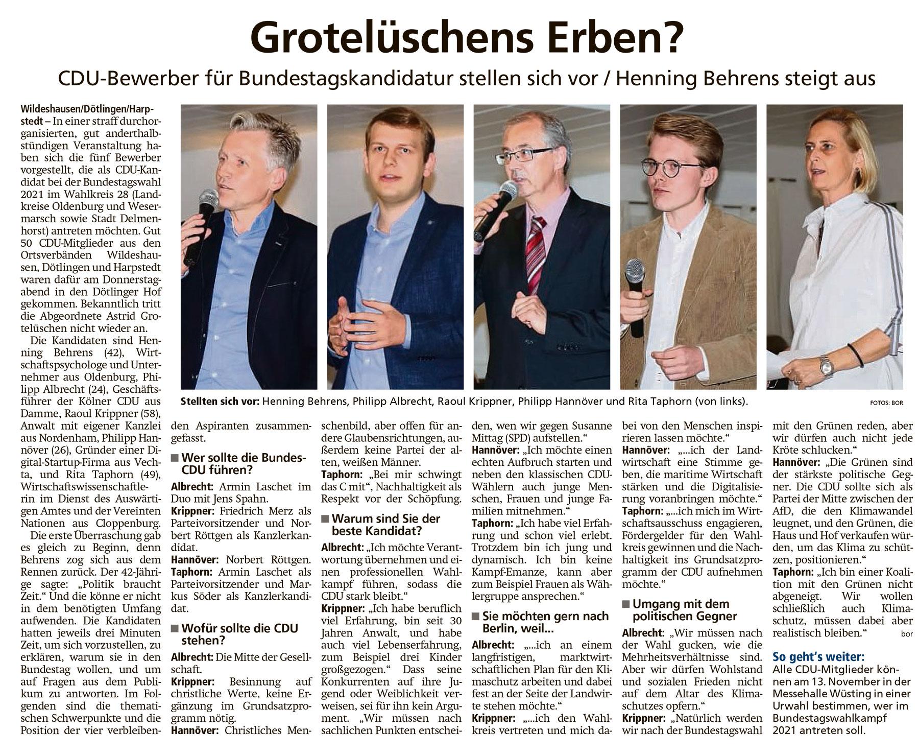 Grotelüschens Erben?CDU-Bewerber für Bundestagskandidatur stellen sich vor / Henning Behrens steigt ausArtikel vom 19.09.2020 (WZ)