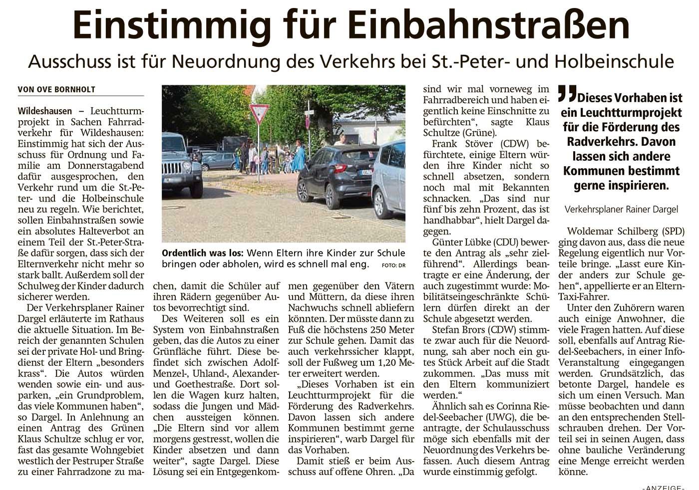 Einstimmig für EinbahnstraßenAusschuss ist für Neuordnung des Verkehrs bei St.-Peter- und HolbeinschuleArtikel vom 25.09.2020 (WZ)