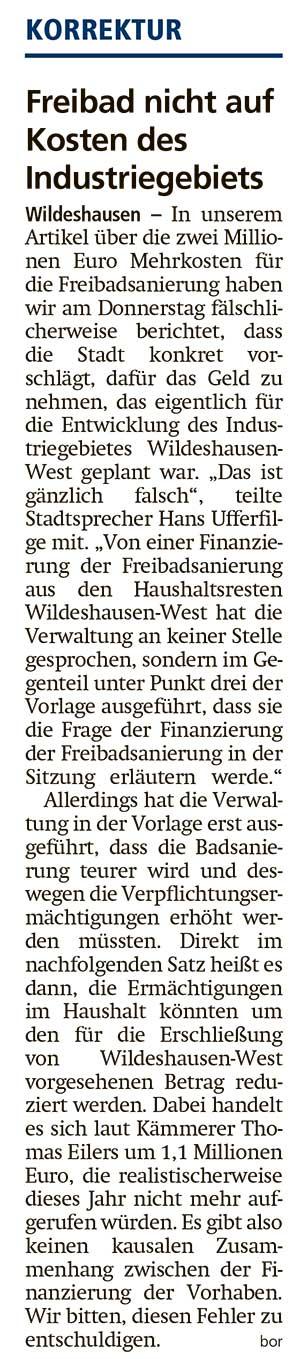 Korrektur: Freibad nicht auf Kosten des IndustriegebietsIn unserem Artikel (24.09.2020) über die zwei Millionen Euro Mehrkosten für die Freibadsanierung...Artikel vom 25.09.2020 (WZ)
