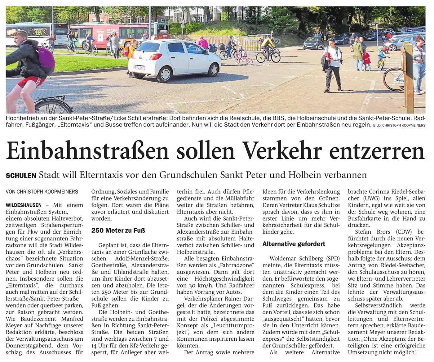 Einbahnstraße sollen Verkehr entzerrenSchulen: Stadt will Elterntaxis vor den Grundschulen Sankt Peter und Holbein verbannenArtikel vom 26.09.2020 (NWZ)