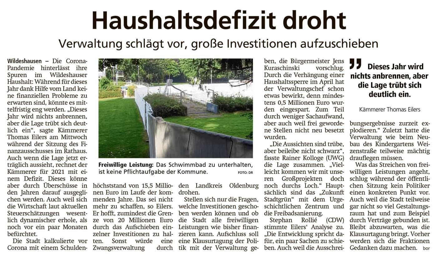 Haushaltsdefizit drohtVerwaltung schlägt vor, große Investitionen aufzuschiebenArtikel vom 01.10.2020 (WZ)