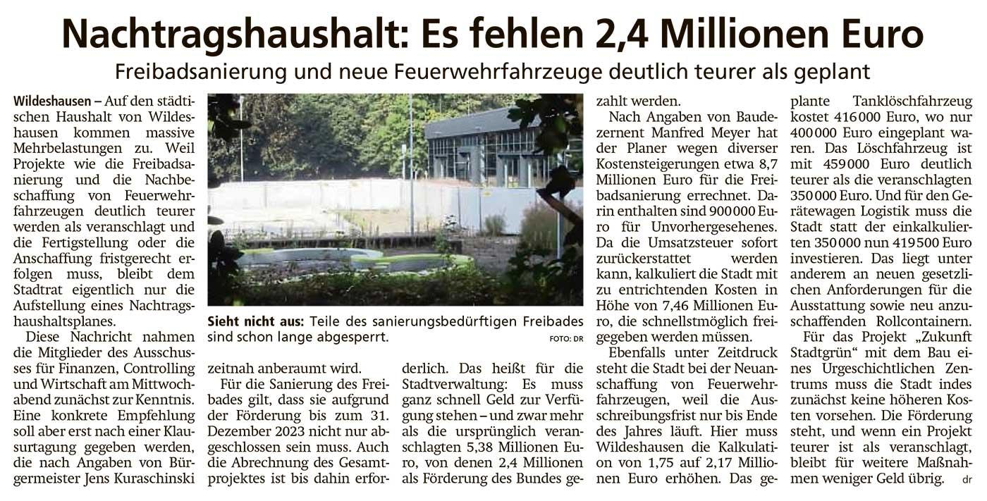 Nachtragshaushalt: Es fehlen 2,4 Millionen EuroFreibadsanierung und neue Feuerwehrfahrzeuge deutlich teurer als geplantArtikel vom 02.10.2020 (WZ)