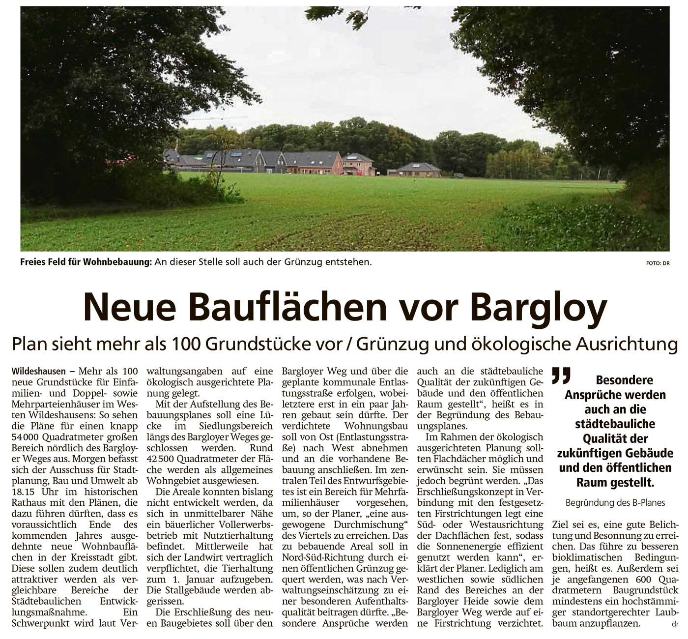 Neue Bauflächen vor BargloyPlan sieht mehr als 100 Grundstücke vor / Grünzeug und ökologische AusrichtungArtikel vom 06.10.2020 (WZ)