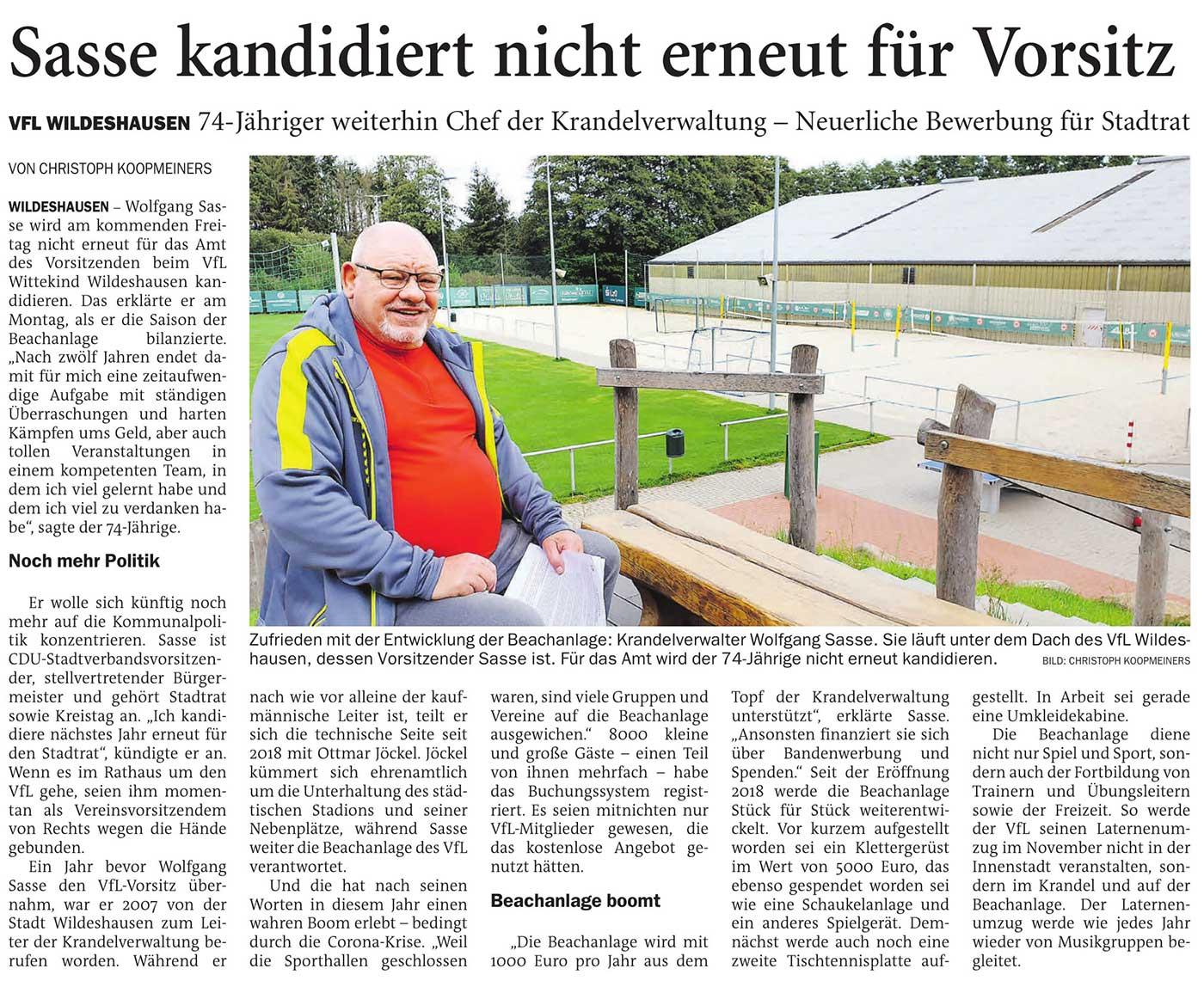 Sasse kandidiert nicht erneut für VorsitzVfL Wildeshausen // 74-Jähriger weiterhin Chef der Krandelverwaltung - Neuerliche Bewerbung für StadtratArtikel vom 06.10.2020 (NWZ)