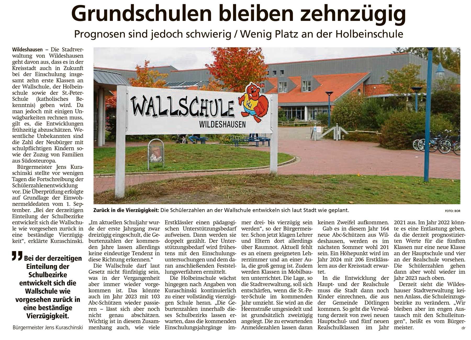 Grundschulen bleiben zehnzügigPrognosen sind jedoch schwierig / Wenig Platz an der HolbeinschuleArtikel vom 07.10.2020 (WZ)
