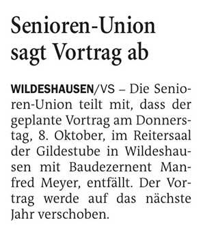 Senioren-Union sagt Vortrag abDie Senioren-Union teilt mit,...Artikel vom 07.10.2020 (NWZ)