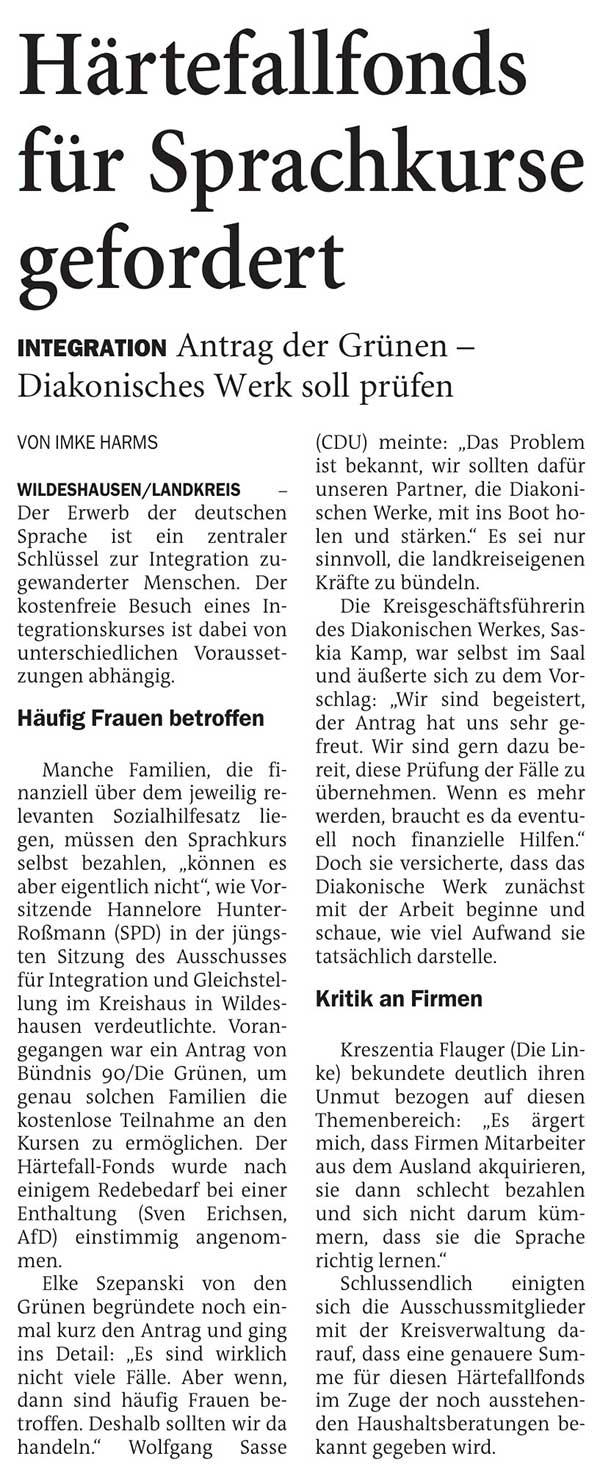 Härtefallfonds für Sprachkurse gefordertLandkreis // Integration: Antrag der Grünen - Diakonisches Werk soll prüfenArtikel vom 07.10.2020 (NWZ)
