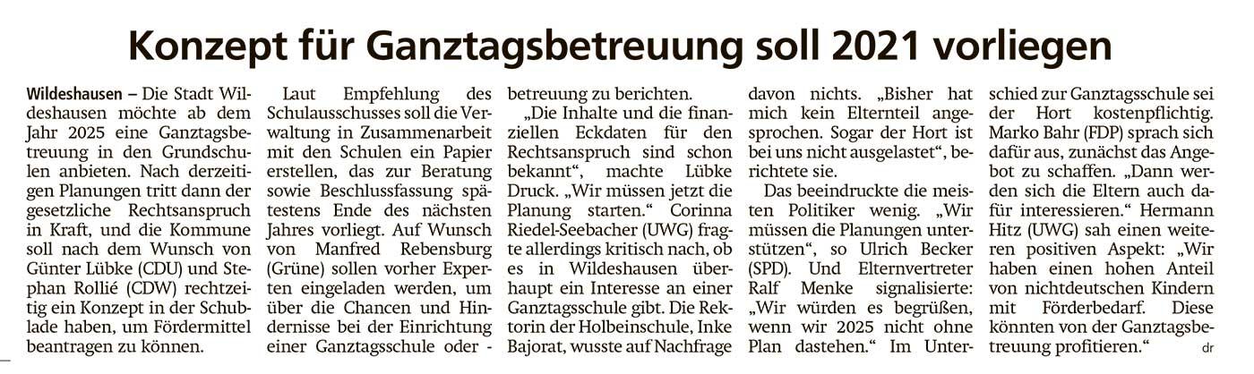 Konzept für Ganztagsbetreuung soll 2021 vorliegenDie Stadt Wildeshausen möchte ab dem Jahr 2025 eine Ganztagsbetreuung in den Grundschulen anbieten.Artikel vom 08.10.2020 (WZ)
