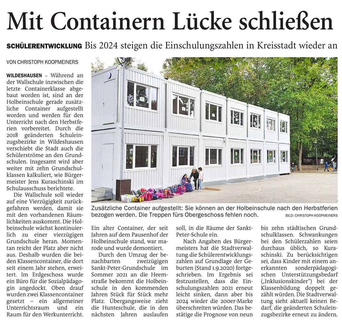 Mit Containern Lücke schließenSchülerentwicklung: Bis 2024 steigen die Einschulungszahlen in Kreisstadt wieder anArtikel vom 08.10.2020 (NWZ)
