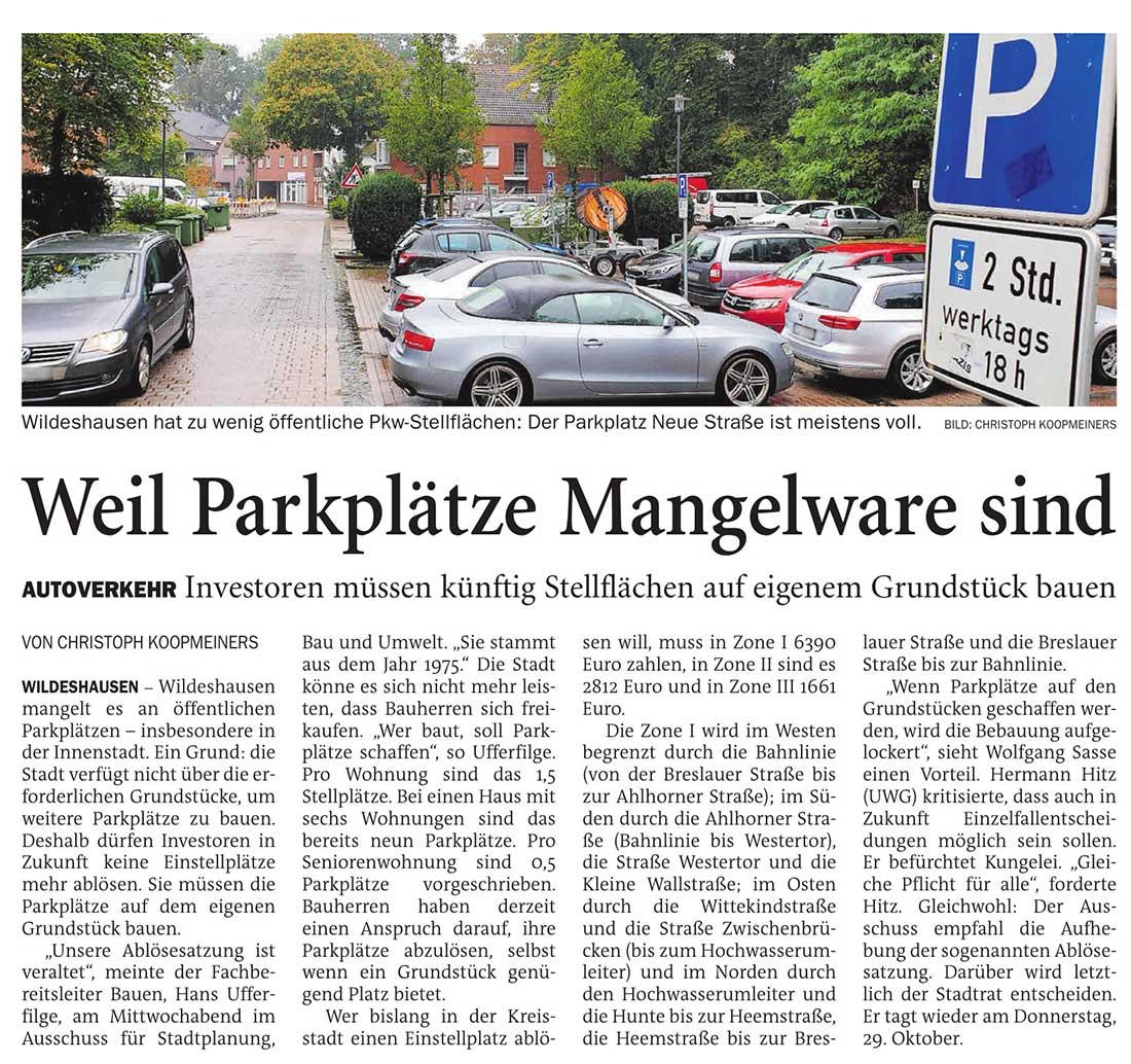 Weil Parkplätze Mangelware sindAutoverkehr: Investoren müssen künftig Stellflächen auf eigenem Grundstück bauenArtikel vom 09.10.2020 (NWZ)