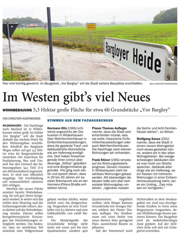 Im Westen gibt´s viel NeuesWohnbebauung: 5,3 Hektar große Fläche für etwa 60 Grundstücke 'Vor Bargloy'Artikel vom 09.10.2020 (NWZ)