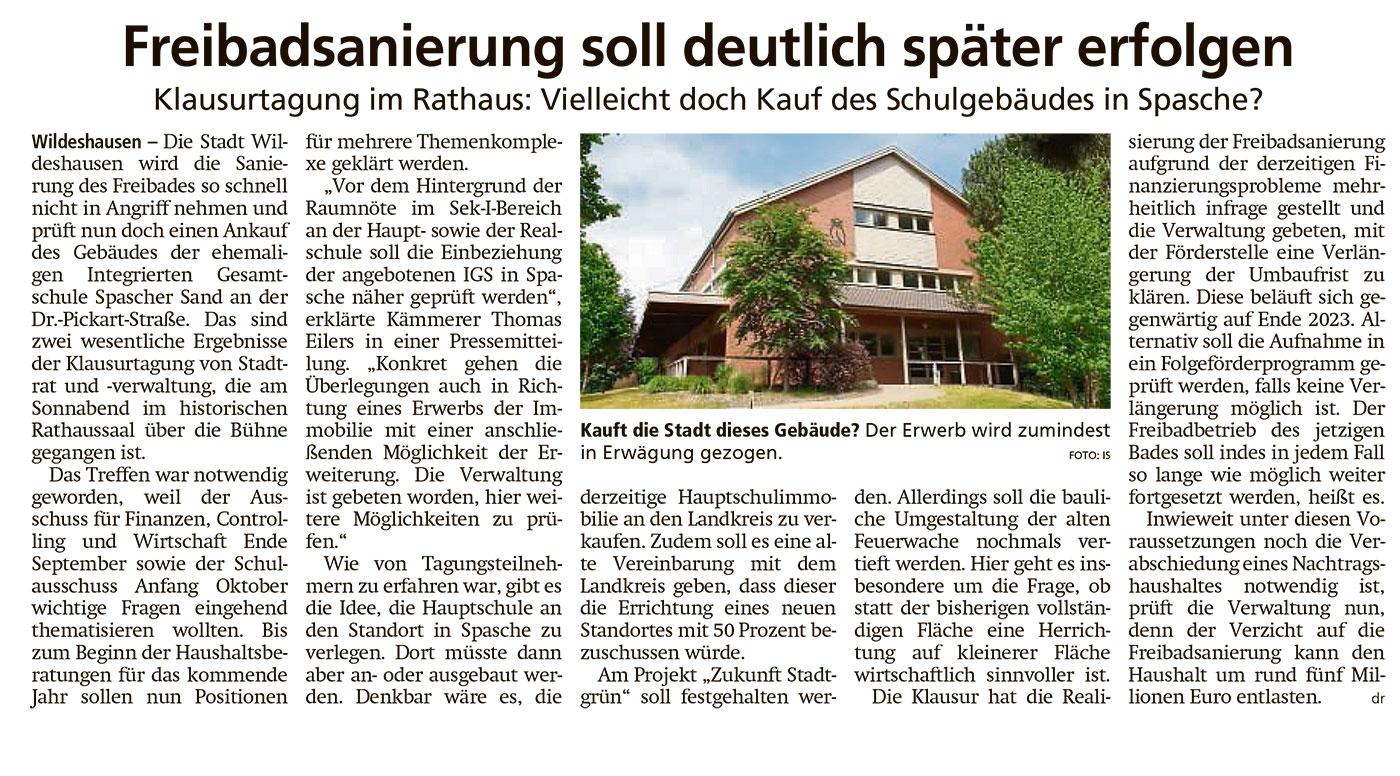 Freibadsanierung soll deutlich später erfolgenKlausurtagung im Rathaus: Vielleicht doch Kauf des Schulgebäudes in Spasche?Artikel vom 13.10.2020 (WZ)