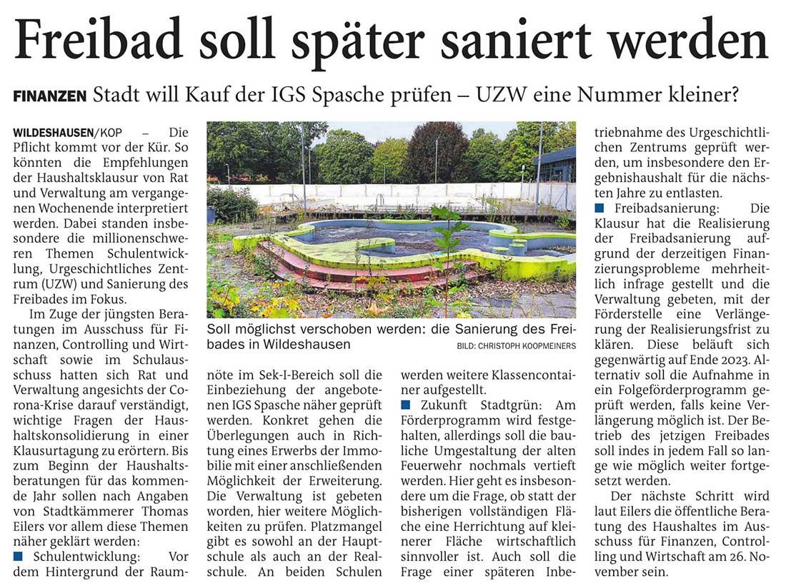 Freibad soll später saniert werdenFinanzen: Stadt will Kauf der IGS Spasche prüfen - UZW eine Nummer kleiner?Artikel vom 13.10.2020 (NWZ)