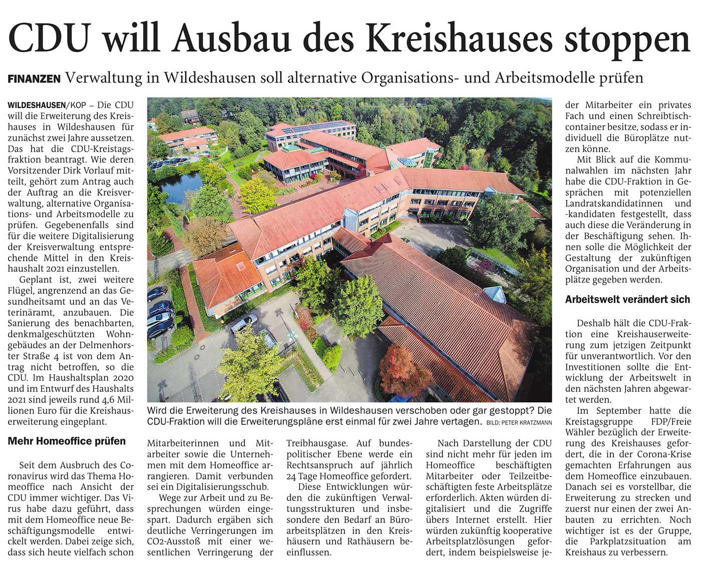 CDU will Ausbau des Kreishauses stoppenLandkreis // Finanzen: Verwaltung in Wildeshausen soll alternative Organisations- und Arbeitsmodelle prüfenArtikel vom 16.10.2020 (NWZ)