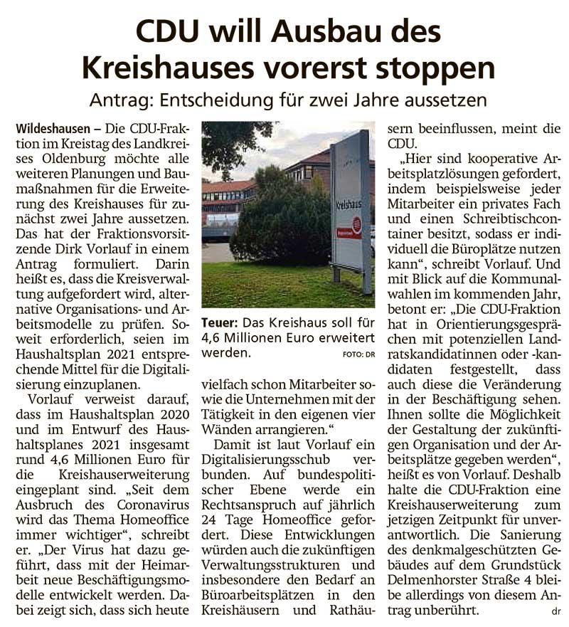 CDU will Ausbau des Kreishauses vorerst stoppenKreistag // Antrag: Entscheidung für zwei Jahre aussetzenArtikel vom 17.10.2020 (WZ)