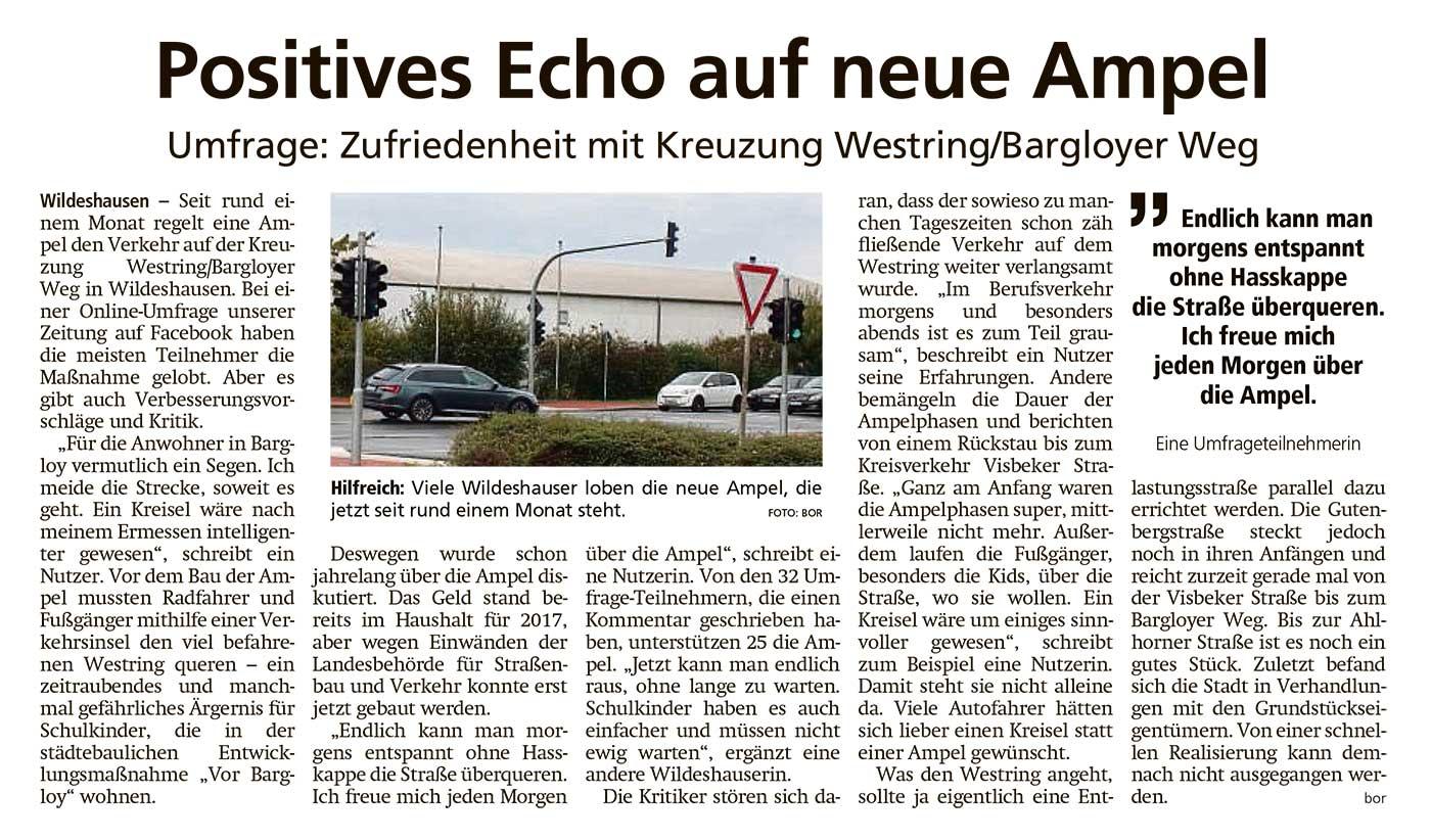 Positives Echo auf neue AmpelUmfrage: Zufriedenheit mit Kreuzung Westring/Bargloyer WegArtikel vom 23.10.2020 (WZ)