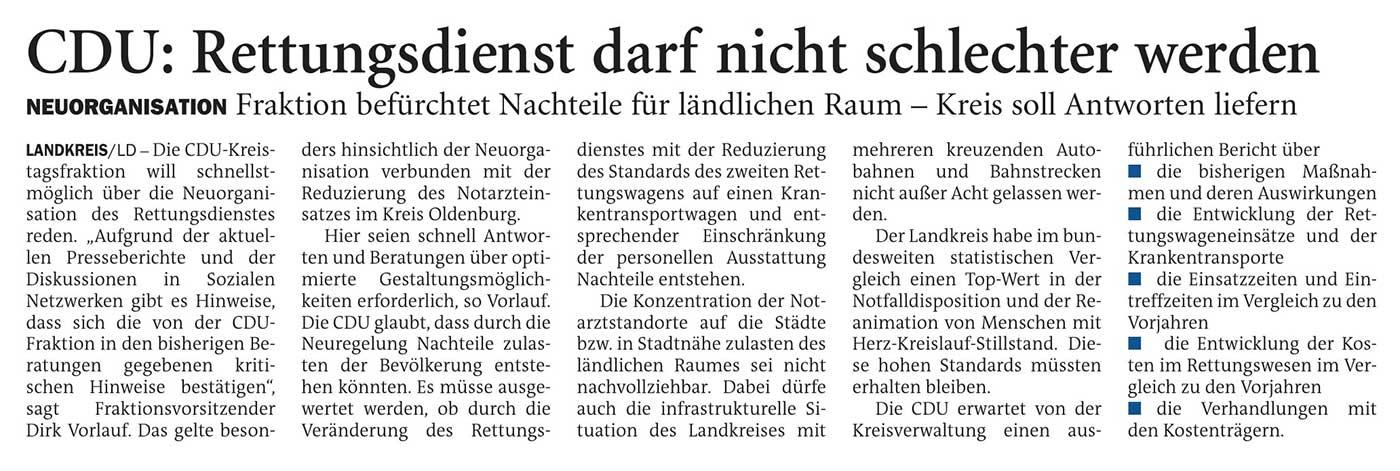 CDU: Rettungsdienst darf nicht schlechter werdenLandkreis // Neuorganisation: Fraktion befürchtet Nachteile für ländlichen Raum - Kreis soll Antworten liefernArtikel vom 27.10.2020 (NWZ)