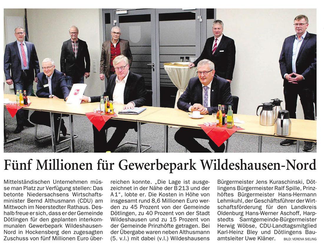 Fünf Millionen für Gewerbepark Wildeshausen-NordAlthusmann überreicht Förderung: Mittelständische Unternehmen müsse man Platz zur Verfügung stellen:...Artikel vom 29.10.2020 (NWZ)