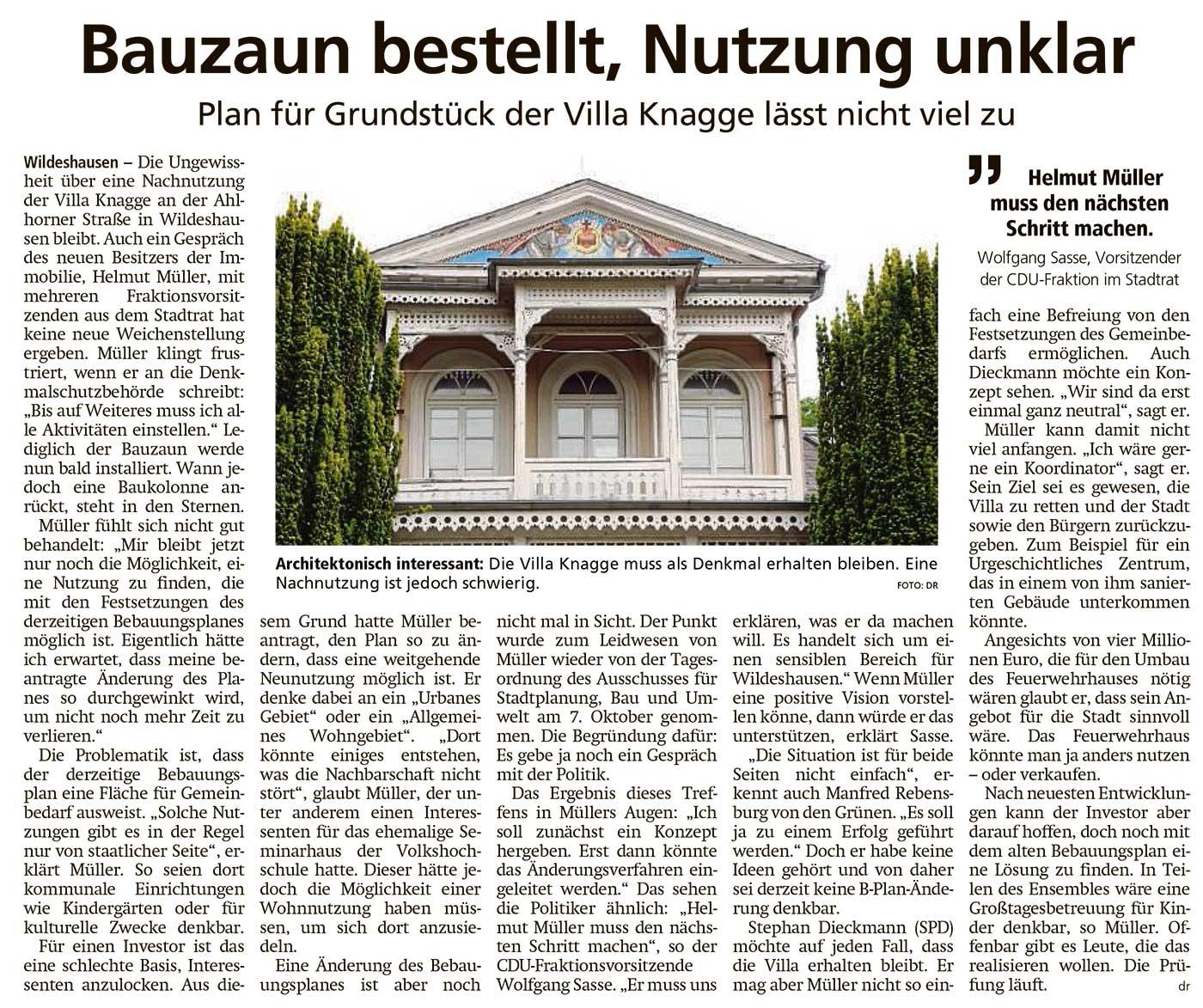 Bauzaun bestellt, Nutzung unklarPlan für Grundstück der Villa Knagge lässt nicht viel zuArtikel vom 29.10.2020 (WZ)