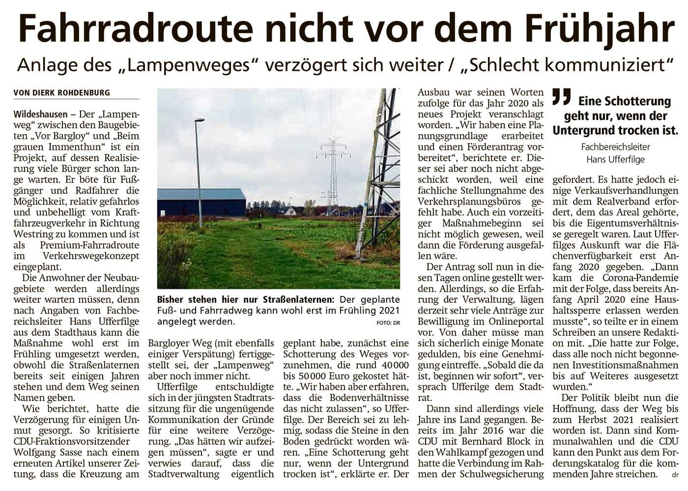 Fahrradroute nicht vor dem FrühjahrAnlage des 'Lampenweges' verzögert sich weiter / 'Schlecht kommuniziert'Artikel vom 06.11.2020 (WZ)