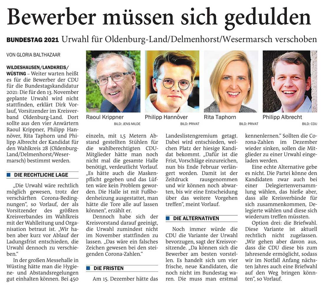 Bewerber müssen sich geduldenBundestag 2021: Urwahl für Oldenburg-Land/Delmenhorst/Wesermarsch verschobenArtikel vom 06.11.2020 (NWZ)