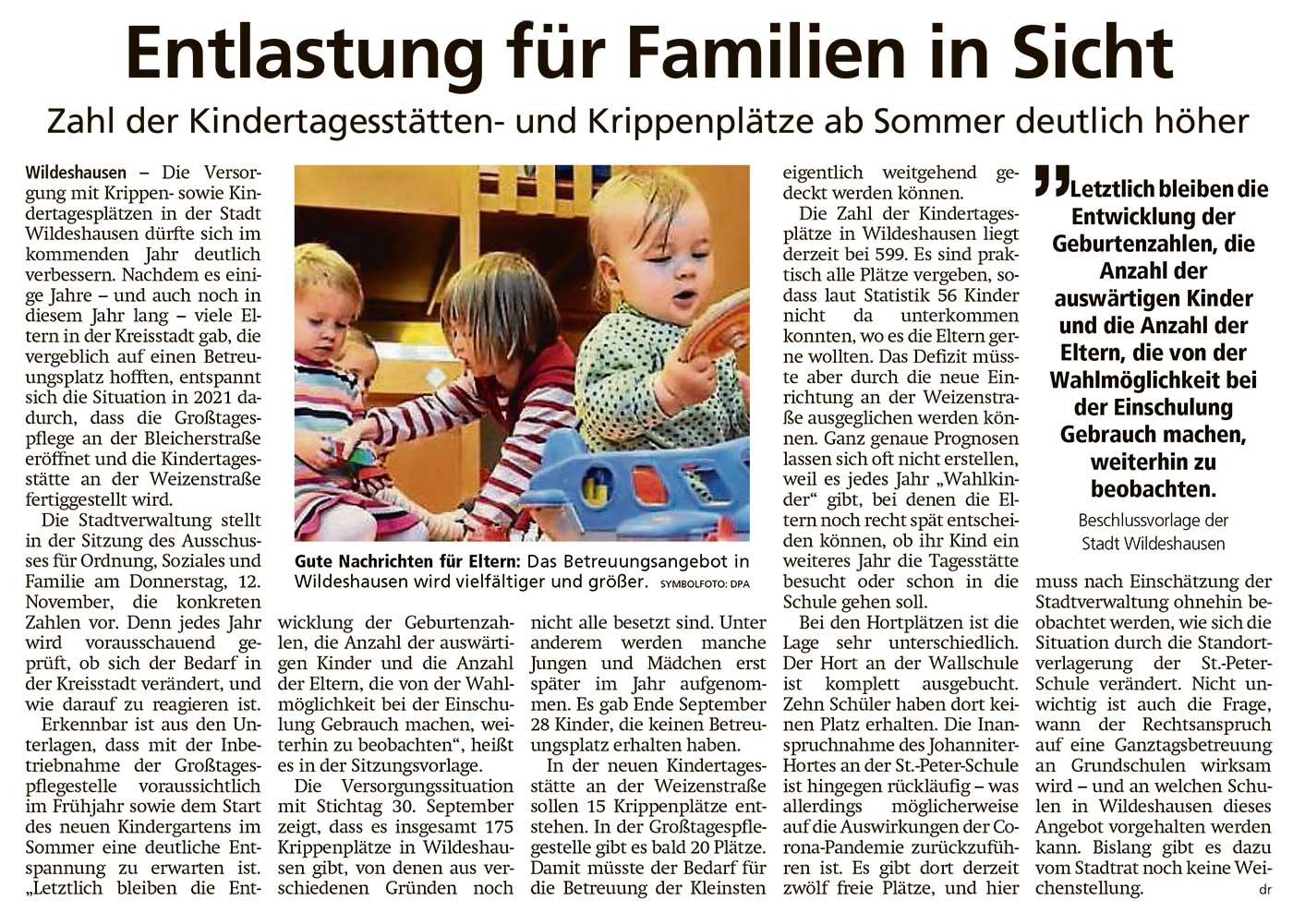 Entlastung für Familien in SichtZahl der Kindertagesstätten- und Krippenplätze ab Sommer deutlich höherArtikel vom 07.11.2020 (WZ)