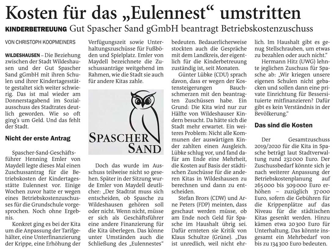 Kosten für das 'Eulennest' umstrittenKinderbetreuung: Gut Spascher Sand gGmbH beantragt BetriebskostenzuschussArtikel vom 14.11.2020 (NWZ)
