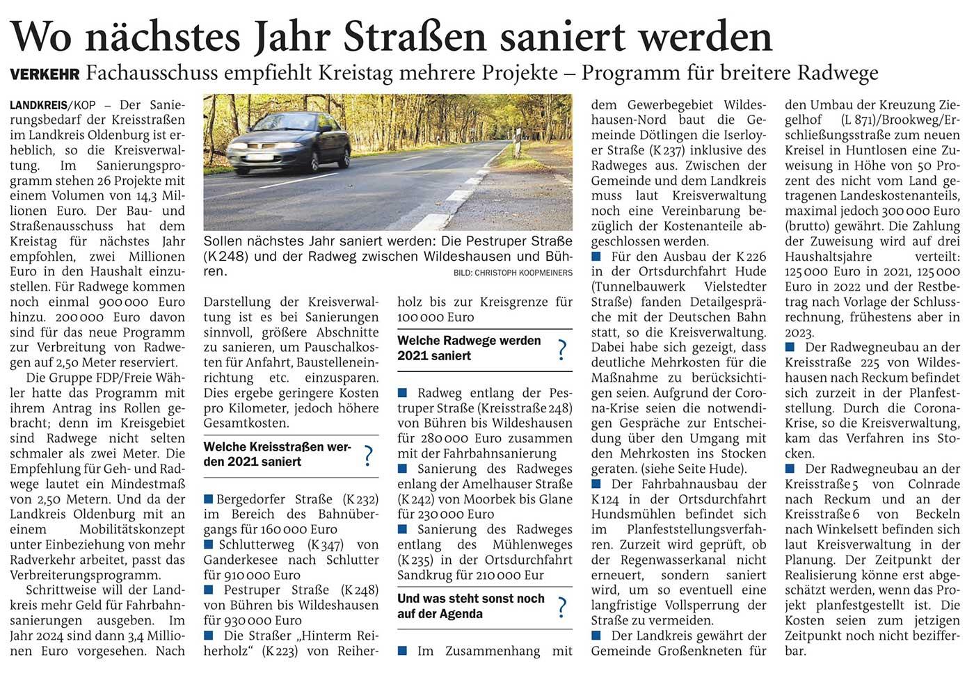 Wo nächstes Jahr Straßen saniert werdenLandkreis // Verkehr: Fachausschuss empfiehlt Kreistag mehrere Projekte - Programm für breitere RadwegeArtikel vom 17.11.2020 (NWZ)