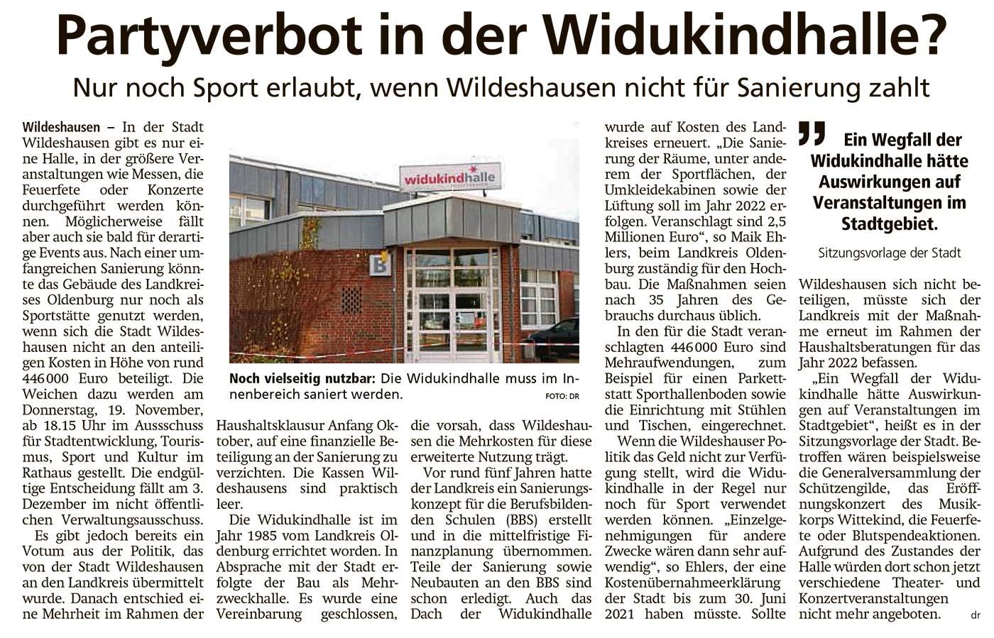 Partyverbot in der Widukindhalle?Nur noch Sport erlaubt, wenn Wildeshausen nicht für Sanierung zahltArtikel vom 17.11.2020 (WZ)