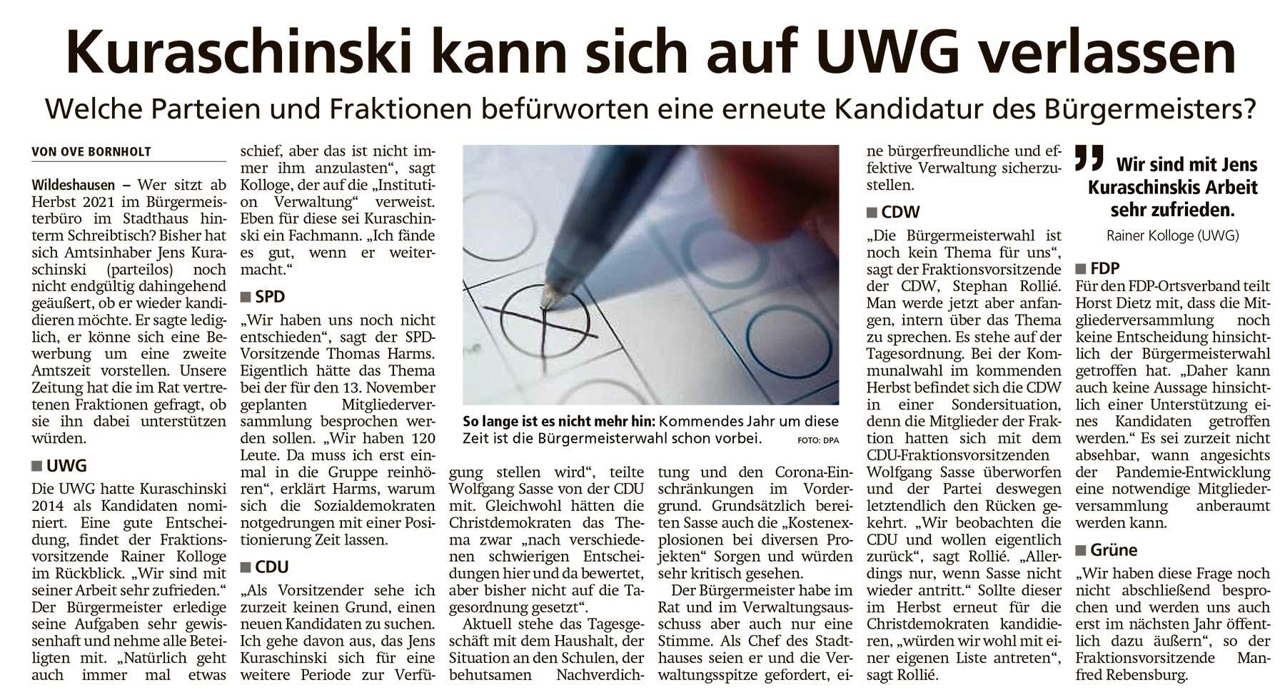 Kuraschinski kann sich auf UWG verlassenWelche Parteien und Fraktionen befürworten eine erneute Kandidatur des Bürgermeisters?Artikel vom 17.11.2020 (WZ)