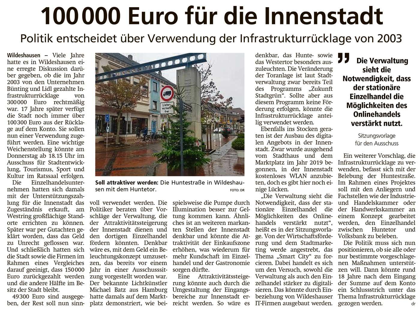100 000 Euro für die InnenstadtPolitik entscheidet über Verwendung der Infrastrukturrücklage von 2003Artikel vom 18.11.2020 (WZ)