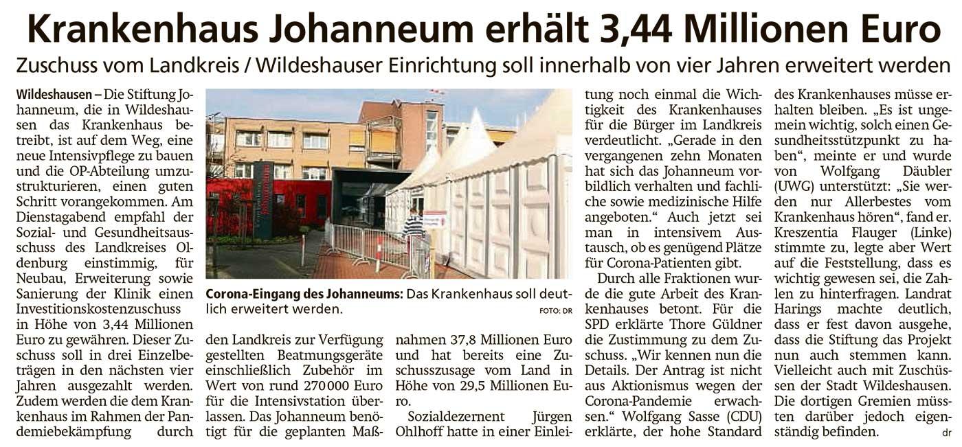 Krankenhaus Johanneum erhält 3,44 Millionen EuroZuschuss vom Landkreis / Wildeshauser Einrichtung soll innerhalb von vier Jahren erweitert werdenArtikel vom 18.11.2020 (WZ)