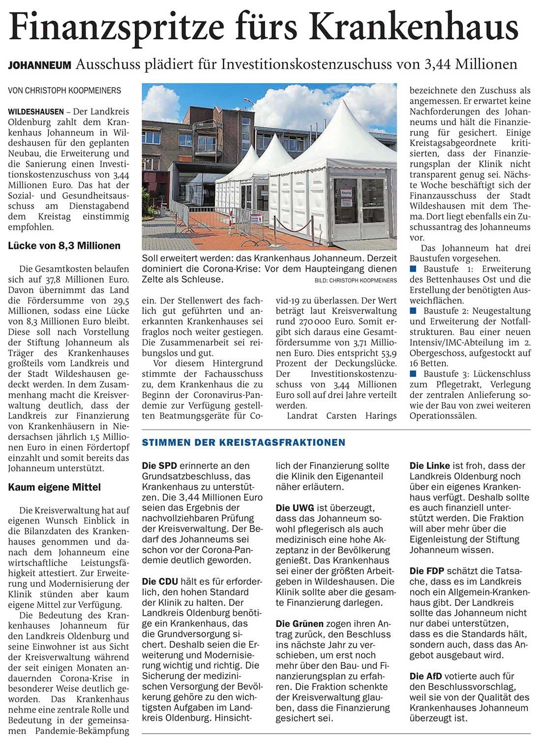 Finanzspritze fürs KrankenhausJohanneum: Ausschuss plädiert für Investitionskostenzuschuss von 3,44 MillionenArtikel vom 18.11.2020 (NWZ)