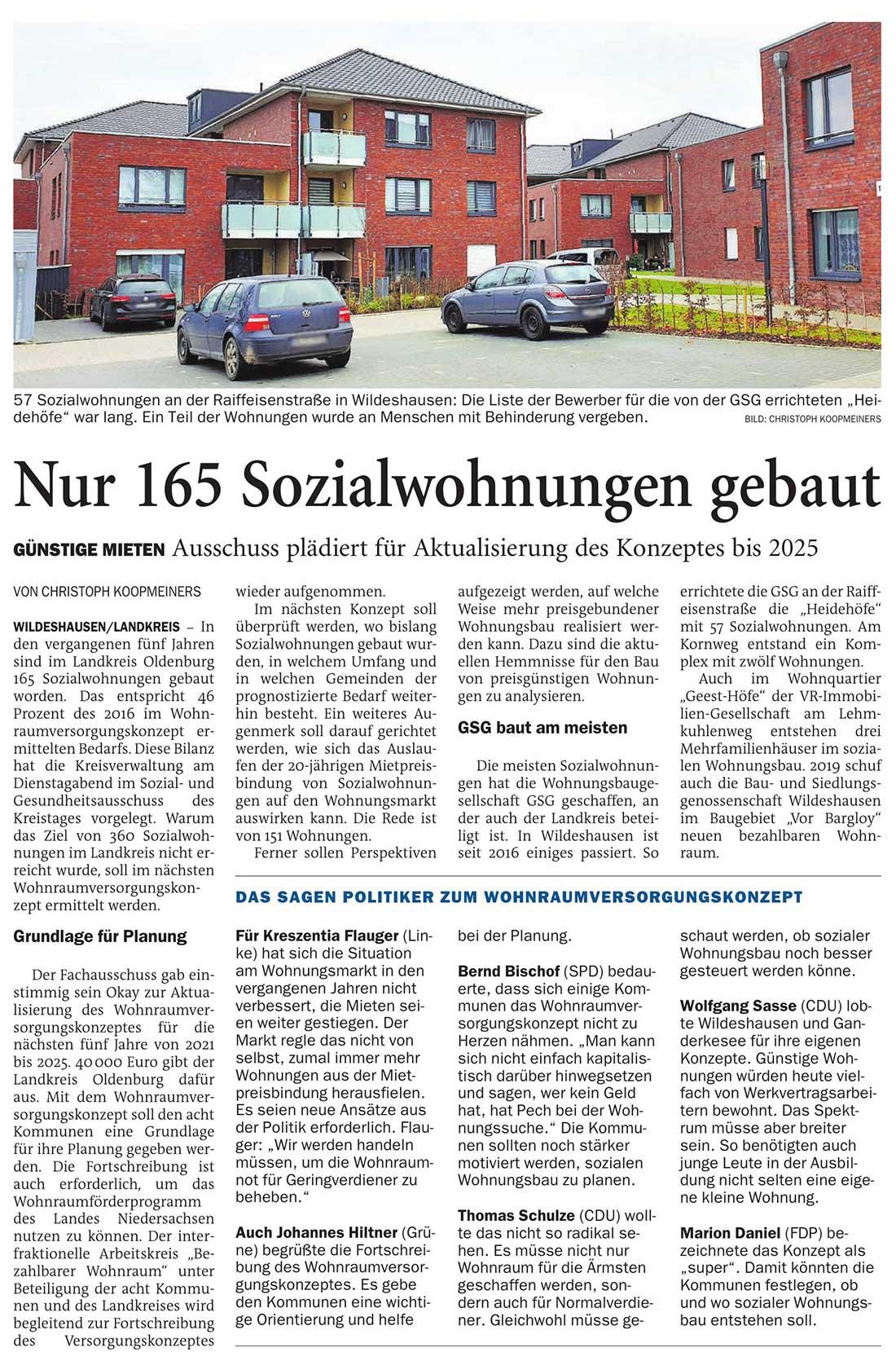 Nur 165 Sozialwohnungen gebautGünstige Mieten: Ausschuss plädiert für Aktualisierung des Konzeptes bis 2025Artikel vom 19.11.2020 (NWZ)
