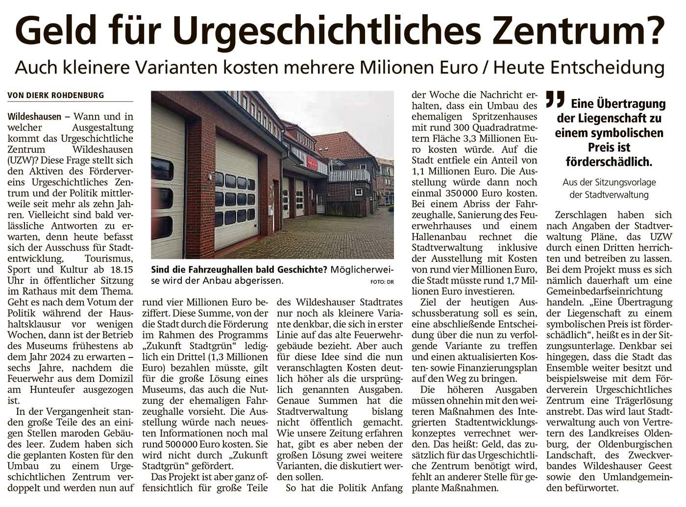 Geld für Urgeschichtliches Zentrum?Auch kleinere Variante kosten mehrere Millionen Euro / Heute EntscheidungArtikel vom 19.11.2020 (WZ)
